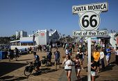 SANTA MONICA, CALIFORNIA - TUES. JUNE 24, 2014: A sign commemorates the end point of Route 66 in San