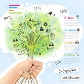 Vector Infographic With A Tree Grabbed By Hand