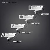 Time line info graphic white folded paper