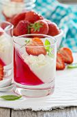 Dessert with strawberries and whipped cream