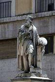 PARMA, ITALY - MAY 01, 2014: Parmigianino statue. Parma is famous for its ham, cheese and architectu