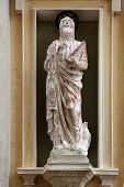 PORTOFERRAIO, ELBA, ITALY - MAY 03, 2014: St. John the Evangelist on the facade of the Church of Mer