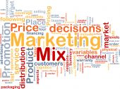 Marketing Mix de conceito de plano de fundo