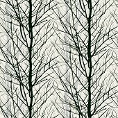 Pattern with trees silhouettes in black