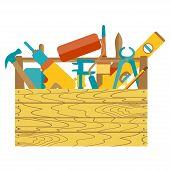 Flat design of tool kit box