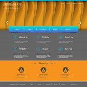 Website Template with Abstract Header Design - Wave Lines Pattern