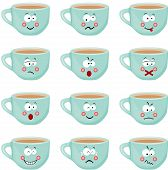 Cup with different expressions