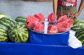 Vendor Selling Fresh Watermelon On The Street