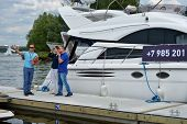 DOLGOPRUDNY, MOSCOW REGION, RUSSIA - JULY 4, 2014: People on the 5th Yachts and Boats Fair