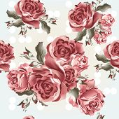 Floral Seamless Vector Pattern With Roses In Vintage Style