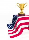Golden trophy with American flag isolated on white