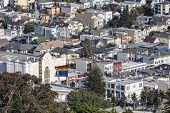 SAN FRANCISCO, CALIFORNIA - July 5, 2014:  Hilltop view of San Francisco's culturally diverse Castro District neighborhood.
