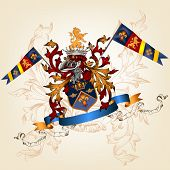 Heraldic Design With Coat Of Arms, Helmet And Shield