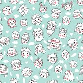 Funny cartoon faces. Seamless pattern.