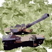 Army background with tank. Apparel print. Vector