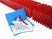 stock photo of blinders  - Row of binders of documents with a graph and pie - JPG