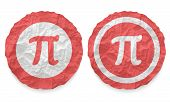 Two Icons With Texture Crumpled Paper And Pi Symbol