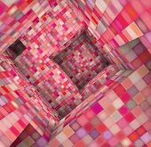 3D  Tile Mosaic Labyrinth Interior In Pink Red