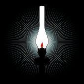 The light of a kerosene lamp