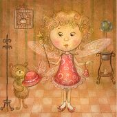 Cute fairy with teddy bear in the room.Children illustration in vintage colors.
