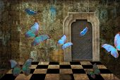 Blue Butterfly Grunge