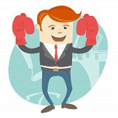 Office man wearing boxing gloves in front of working place