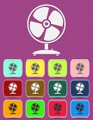 Fan Vector icon with color variations, vector