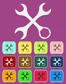 Settings Wrench Icon with color variations, vector