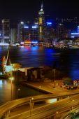 Small freight terminal in Hong Kong at night