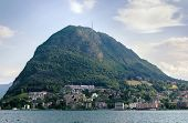 stock photo of salvatore  - View of Monte San Salvatore and Lugano lake Switzerland