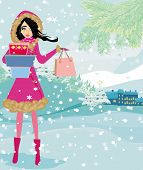 Beautiful Woman Doing The Shopping In Winter