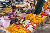 Traders Selling Flower Garlands