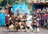 Victoria, Seychelles - April 26, 2014: Zulu African Dancers At The Carnival International De Victori