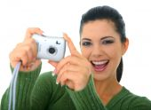 picture of young woman posing the camera  - happy pretty woman taking picture using digital camera - JPG