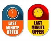 Last Minute Offer With Clock Signs, Two Elliptical Labels