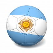 Soccer footbal ball with Argentina flag isolated on white background