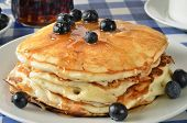 Blueberry Pancakes On A Picnic Table