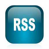 rss blue glossy internet icon