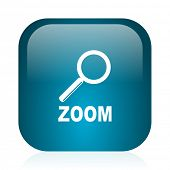 zoom blue glossy internet icon