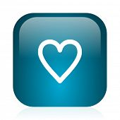 heart blue glossy internet icon