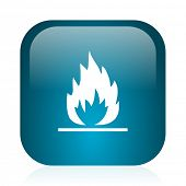 flame blue glossy internet icon