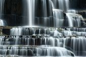 Pongour waterfall in Dalat, Vietnam. Flowing water natural background
