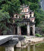 Bich Dong Pagoda in Ninh Binh, Vietnam. Ha Pagoda (lower pagoda)