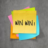 Win Win Words On Crumpled Sticky Note Paper As Concept