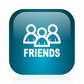 friends blue glossy internet icon