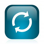 reload blue glossy internet icon