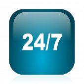 24/7 blue glossy internet icon