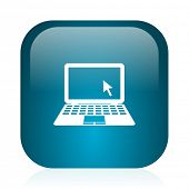 computer blue glossy internet icon