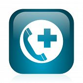 emergency call blue glossy internet icon