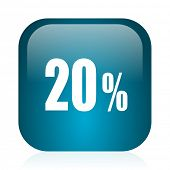 20 percent blue glossy internet icon